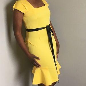 Yellow Pencil Dress, Mermaid Hemline